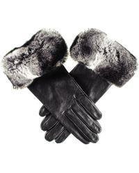 Black.co.uk - Ladies Black Leather Gloves With Chinchilla Style Rabbit Fur Cuff - Lyst