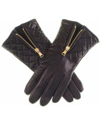 Black.co.uk - Black Leather Quilted Gloves With Cashmere Lining - Lyst