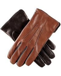 Black.co.uk - Men's Tobacco And Black Leather Gloves - Cashmere Lined - Lyst