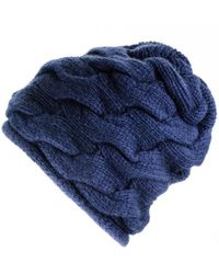 Black.co.uk - Navy Chunky Cable Knit Cashmere Beanie - Lyst