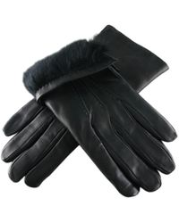 Black.co.uk - Black Leather Gloves With Rabbit Lining - Lyst