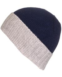 Black.co.uk - Navy And Grey Cashmere Beanie - Lyst