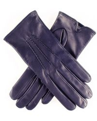 Black.co.uk - Classic Navy Cashmere Lined Leather Gloves - Lyst