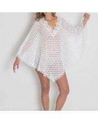 Black.co.uk - Portofino Hand Crocheted Cotton Poncho - Lyst