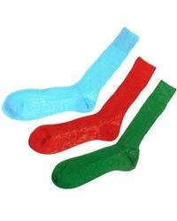 Black.co.uk - Set Of Three Bright Egyptian Cotton Lisle Socks - Lyst