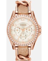 Fossil - Women's Riley Rose Gold-tone Chain And Bone Leather Strap Watch 38mm Es3466 - Lyst