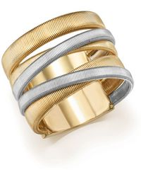 Marco Bicego - 18k White & Yellow Gold Masai Five-strand Crossover Ring - Lyst