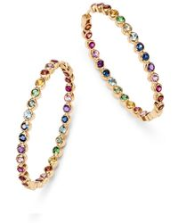 Shebee - 14k Yellow Gold Multicolor Sapphire Inside-out Oval Hoop Earrings - Lyst