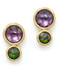 Marco Bicego - 18k Yellow Gold Jaipur Two Stone Earrings With Amethyst And Green Tourmaline - Lyst