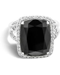 John Hardy - Sterling Silver Batu Classic Chain Ring With Black Onyx And Diamonds - Lyst