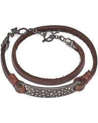 Armenta - Blackened Sterling Silver & Leather Old World Champagne Diamond Bar Wrap Bracelet - Lyst