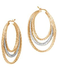 John Hardy - 18k Yellow Gold Classic Chain Pavé Diamond Medium Hoop Earrings - Lyst