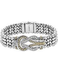Lagos - Sterling Silver And 18k Gold Newport Diamond Caviar Bracelet - Lyst