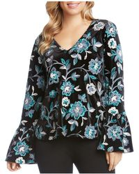 Karen Kane - Floral Embroidered Velvet Bell Sleeve Top - Lyst