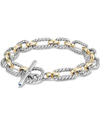 David Yurman | Chain Cushion Link Bracelet With Blue Sapphires And 18k Gold | Lyst