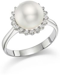 Tara Pearls | 14k White Gold Natural Color White South Sea Cultured Pearl And Diamond Ring | Lyst