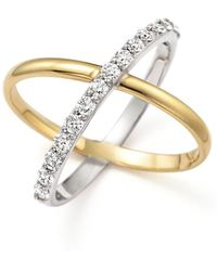 """KC Designs - Diamond """"x"""" Ring In 14k Yellow And White Gold - Lyst"""