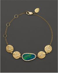 Meira T - 14k Yellow Gold Opal Disc Bracelet With Diamonds - Lyst