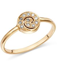 Shebee - 14k Yellow Gold Diamond Mini Spiral Ring - Lyst