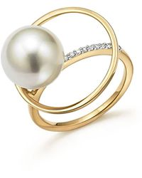 Mateo - 14k Yellow Gold Pearl Orbit Ring With Diamonds - Lyst