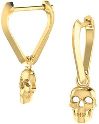 ICONERY - X Andrea Linett 14k Yellow Gold Small Triangle Huggie Hoop Earrings With Skull Charms - Lyst