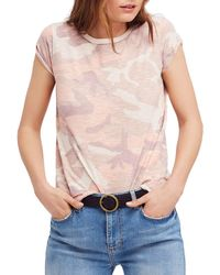 Free People - Clare Camo Tee - Lyst