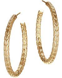 John Hardy - Classic Chain 18k Yellow Gold Medium Hoop Earrings - Lyst