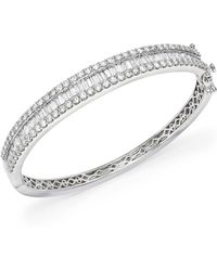 Bloomingdale's Diamond Round And Baguette Bangle In 14k White Gold