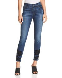 7 For All Mankind - Embellished Ankle Skinny Jeans In B(air) Authentic Chance - Lyst