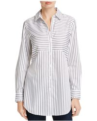 Foxcroft - Gina Directional Stripe Button Down Tunic - Lyst