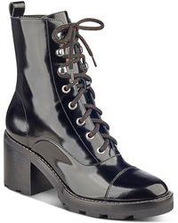 Marc Fisher - Wanya Patent Leather Block Heel Combat Booties - Lyst