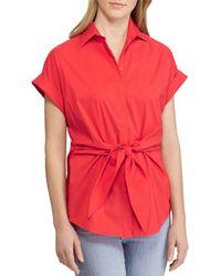 0da0ee11434d36 Lyst - Polo Ralph Lauren Silk Tie-neck Blouse in Natural