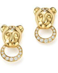 Temple St. Clair - 18k Yellow Gold Lion Cub Pavé Diamond Earrings - Lyst