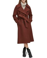 Andrew Marc - Sculpted Twill Double - Breasted Button - Front Coat - Lyst