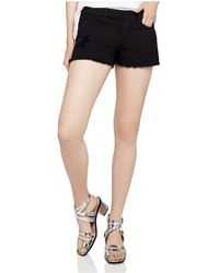 BCBGeneration - Frayed Denim Shorts In Distressed Black - Lyst