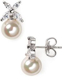 Majorica - Flower And Simulated Pearl Stud Earrings - Lyst