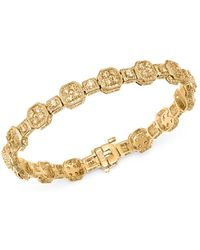 Bloomingdale's - Diamond Square Cluster Bracelet In 14k Yellow Gold - Lyst