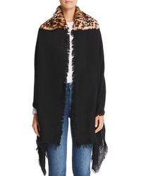 Gaynor - Sara Leopard Faux Fur Detail Wrap - Lyst
