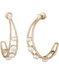 Carolee - Gold-tone Crystal & Freshwater Pearl (4-5mm) Open Hoop Earrings - Lyst