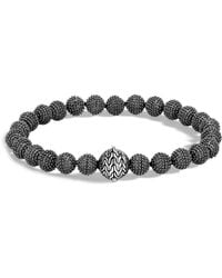 John Hardy - Men's Blackened Sterling Silver Classic Chain Jawan Beaded Bracelet - Lyst