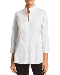Misook - Embroidered Zip Front Top - Lyst