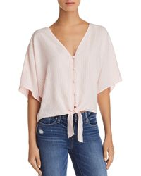PAIGE - Baylee Tie-front Striped Top - Lyst