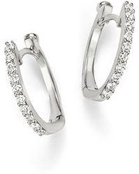 Roberto Coin | 18k White Gold Small Diamond Hoop Earrings | Lyst