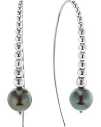 Lagos - Sterling Silver Signature Caviar Cultured Tahitian Black Pearl Linear Drop Earrings - Lyst