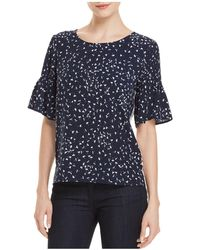 French Connection - Komo Two-tone Pin-tuck Sleeve Top - Lyst