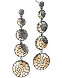John Hardy - Blackened Sterling Silver & 18k Bonded Gold Dot Hammered Moon Phase Earrings - Lyst
