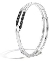 John Hardy - Bamboo Silver Lava Hook Bracelet With Black Sapphire - Lyst