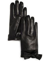 Kate Spade - Bow Detail Leather Gloves - Lyst