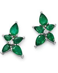 Bloomingdale's - Emerald & Diamond Flower Stud Earrings In 14k White Gold - Lyst