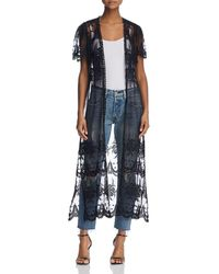 Aqua - Embroidered Mesh Tie-front Duster Cardigan - Lyst